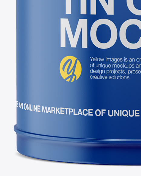 Matte Oil Tin Can Mockup - Front View