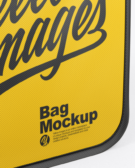 Download Leather Bag Mockup Half Side View High Angle Shot Yellow Images