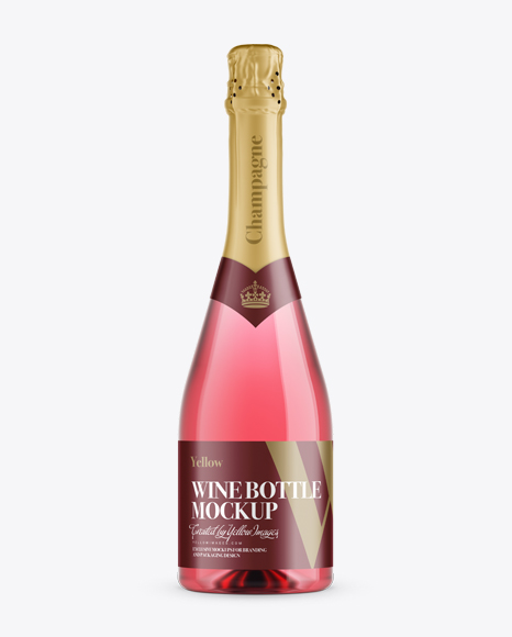 Pink Champagne Bottle HQ Mockup - Front View