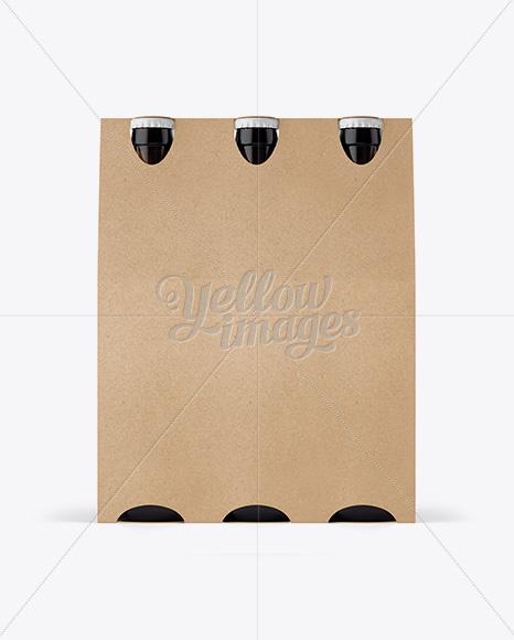 Kraft Paper 6 Pack Amber Bottle Carrier Mockup