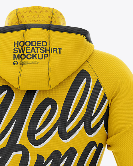 Men's Hooded Sweatshirt Mockup - Back View