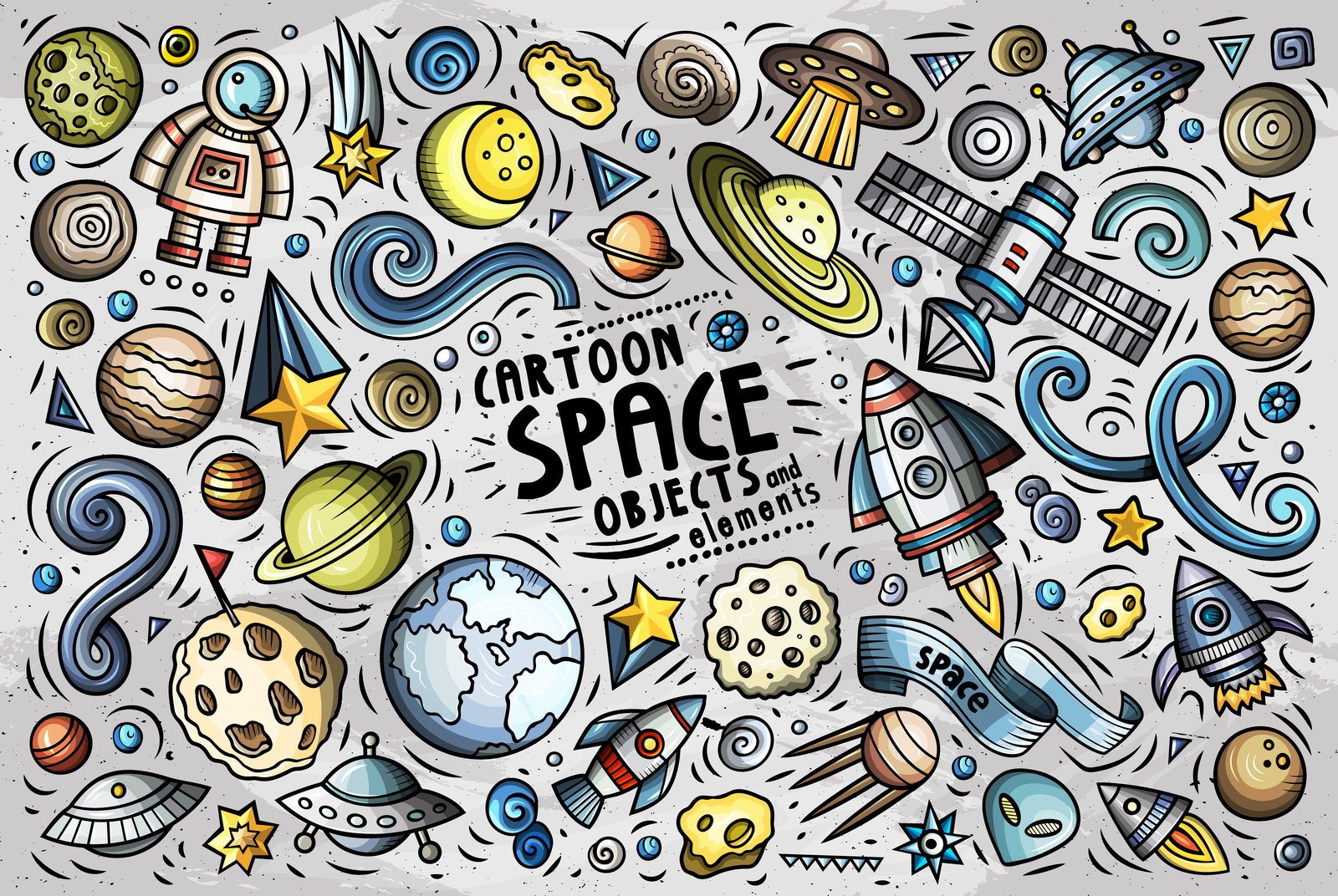 Space Cartoon Objects Set