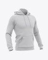 Men's Hooded Sweatshirt Mockup - Half Side View