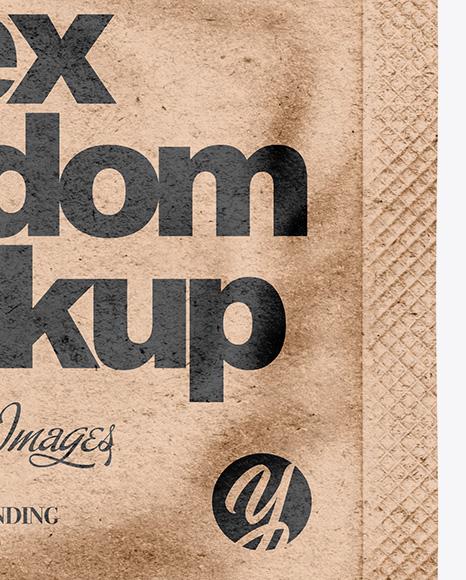 Kraft Paper Square Condom Packaging Mockup