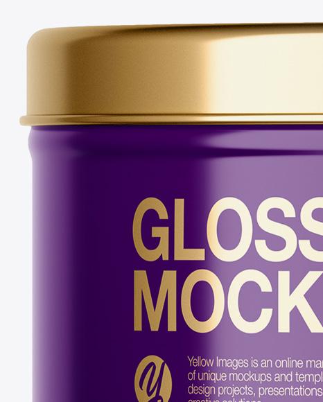Glossy Round Tin Can Mockup