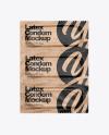 Kraft Paper Three Condom Packaging Mockup