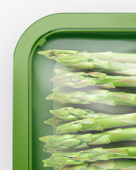Plastic Tray With Asparagus Mockup - Top View