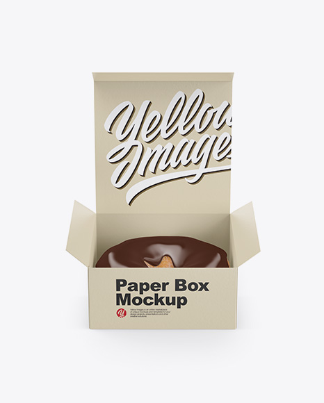 Opened Paper Box With Donut Mockup Front View High Angle Shot