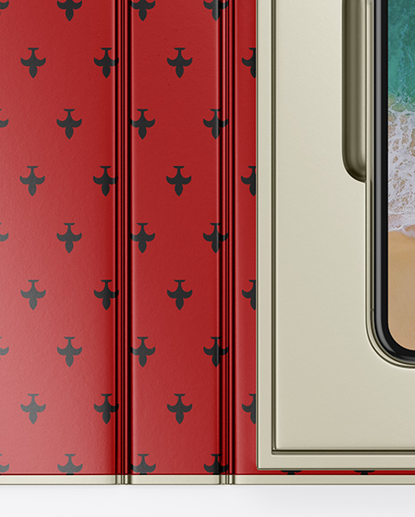 Metallic Gift Box With Apple iPhone X Mockup - Top View