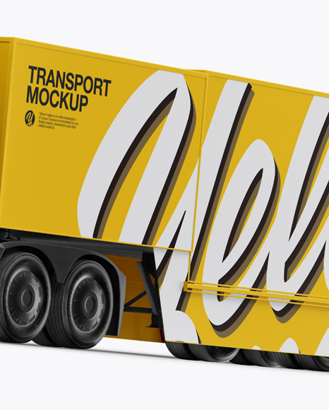 Electric Semi-Trailer Mockup - Half Side View