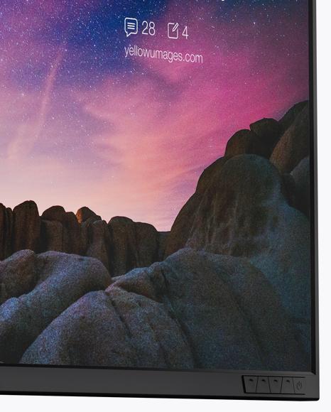 Glossy Monitor Mockup - Half Side View