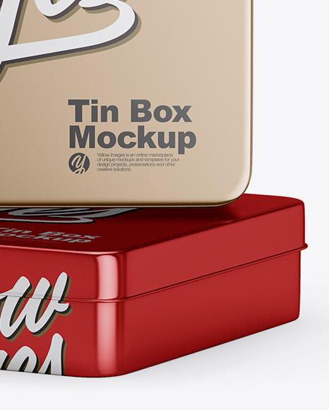 Two Metallic Tin Boxes Mockup