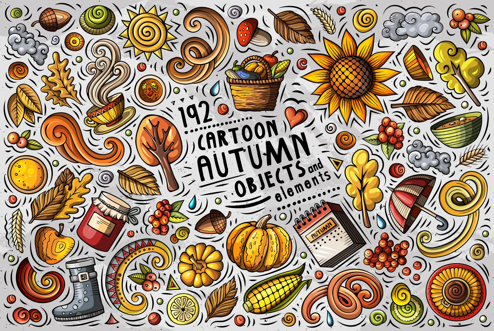 Autumn Cartoon Objects Set