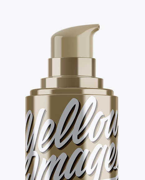 Metallic Cosmetic Bottle w/ Pump Mockup