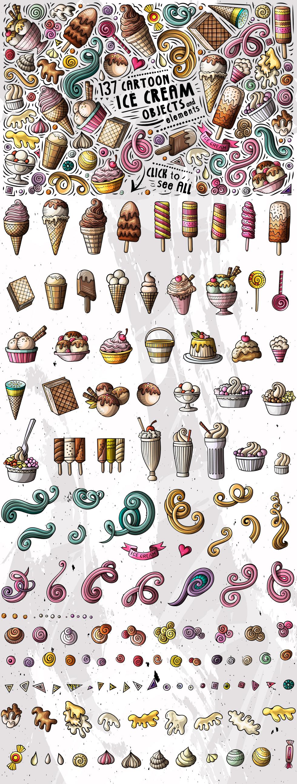 Ice Cream Cartoon Objects Set