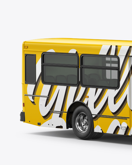 Bus Mockup - Right Half Side View