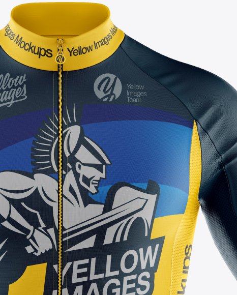 Download Mens Full Zip Cycling Jersey With Long Sleeve Mockup Half Side View Yellowimages