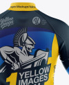 Men's Full-Zip Cycling Jersey With Long Sleeve Mockup - Back View