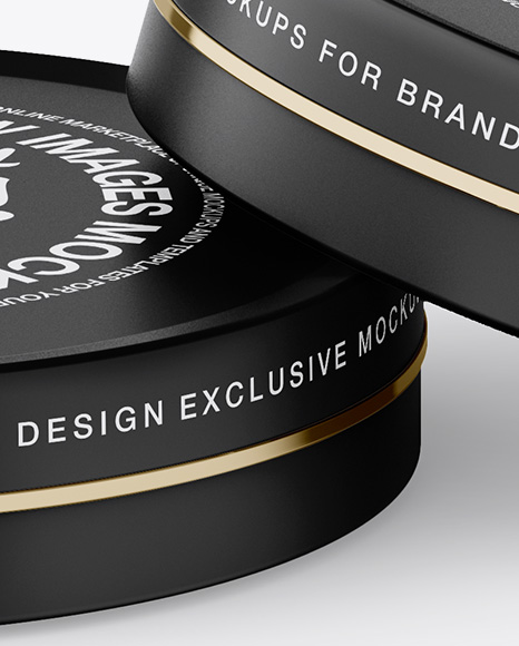 Two Matte Round Cosmetic Jars Mockup