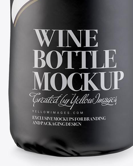 wine bottle in glossy paper wrap mockup in bottle mockups