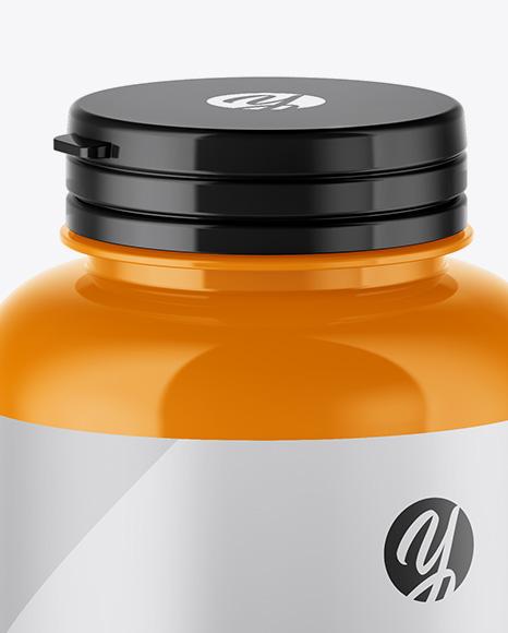Glossy Pills Bottle Mockup (High-Angle Shot)