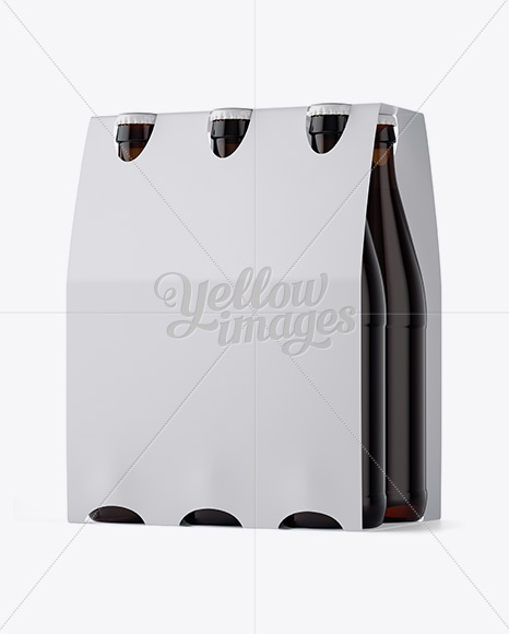 Download White Paper 6 Pack Amber Bottle Carrier Mockup 3 4 View In Bottle Mockups On Yellow Images Object Mockups PSD Mockup Templates