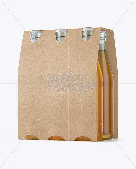 Download Kraft Paper 6 Pack Beer Bottle Carrier Mockup 3 4 View In Bottle Mockups On Yellow Images Object Mockups PSD Mockup Templates