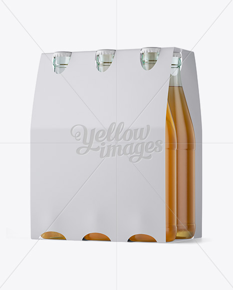 Download White Paper 6 Pack Beer Bottle Carrier Mockup 3 4 View In Bottle Mockups On Yellow Images Object Mockups PSD Mockup Templates