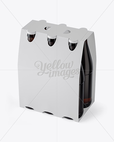 Download White Paper 6 Pack Amber Bottle Carrier Mockup 3 4 View High Angle Shot In Bottle Mockups On Yellow Images Object Mockups PSD Mockup Templates
