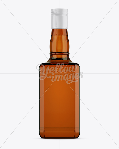 Amber Bottle W/ Whiskey Mockup - Front View
