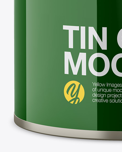 Glossy Tin Can Mockup - Front View