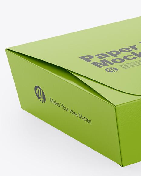 Paper Box Mockup Half Side View High Angle Shot In Box Mockups