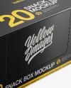 20 Snack Bars Closed Box Mockup - Half-Side View (High-Angle Shot)