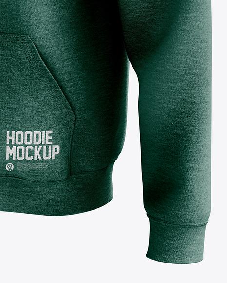 Men's Heather Full-Zip Hoodie mockup (Half Side View)