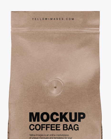 Kraft Coffee Bag with Valve Mockup - Front View
