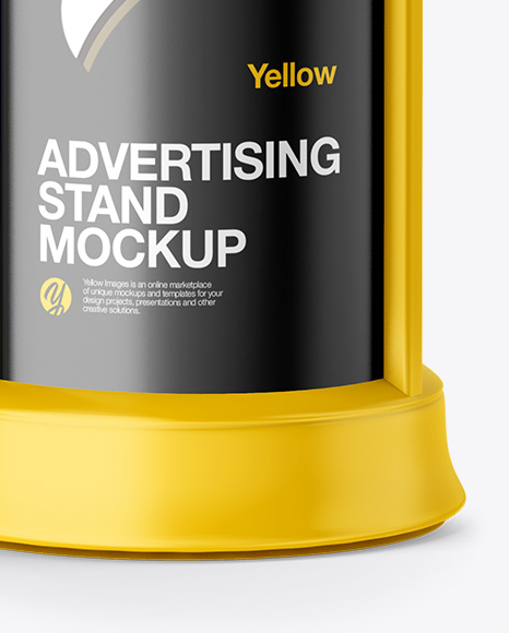 Round Matte Street Advertising Column Mockup