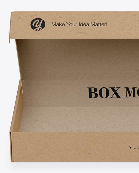 Opened Kraft Box Mockup - Front View (High-Angle Shot)
