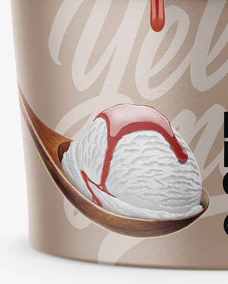 Paper Ice Cream Cup Mockup - Front View (High-Angle Shot)
