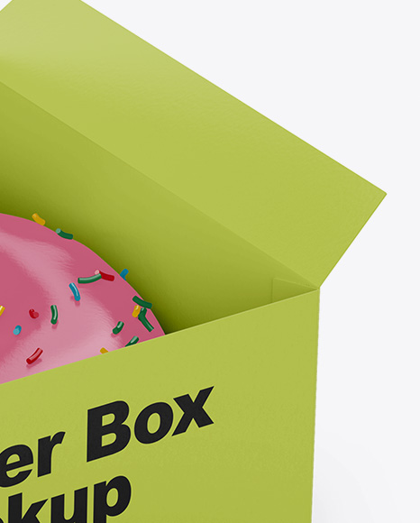 Opened Paper Box With Donut Mockup Half Side High Angle Shot