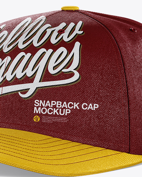 Download Snapback Cap Mockup Back Half Side View Yellow Images