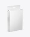 Glossy Box with Hang Tab Mockup - Half Side View (High-Angle Shot)