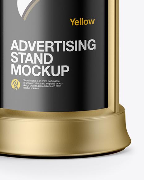 Round Metallic Street Advertising Column Mockup