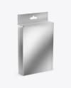 Metallic Box with Hang Tab Mockup - Half Side View (High-Angle Shot)