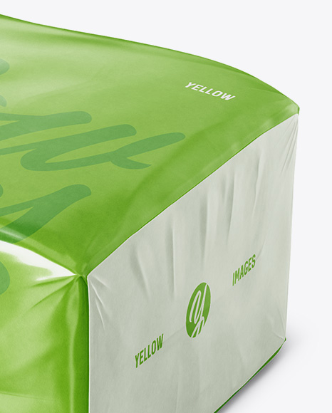 Glossy Paper Bag Mockup - Halfside View (High-Angle Shot)