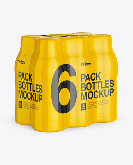 Download 6 Pack Plastic Bottles Mockup In Bottle Mockups On Yellow Images Object Mockups PSD Mockup Templates