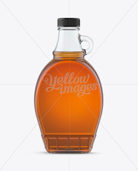 Glass Bottle W/ Maple Syrup Mockup