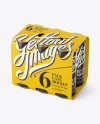 White Paper 6 Pack Cans Carrier Mockup - Halfside View (High-Angle Shot)