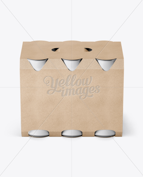Download Kraft Paper 6 Pack Cans Carrier Mockup Front View High Angle Shot In Can Mockups On Yellow Images Object Mockups PSD Mockup Templates