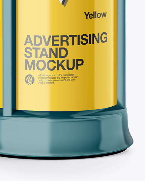 Round Glossy Street Advertising Column Mockup- Half Side View