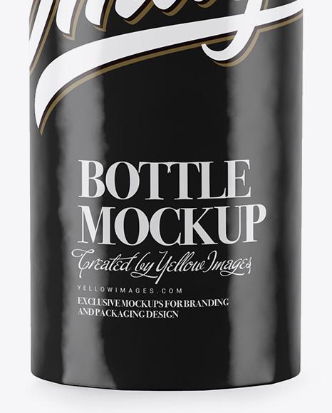 Bottle in Glossy Paper Wrap Mockup